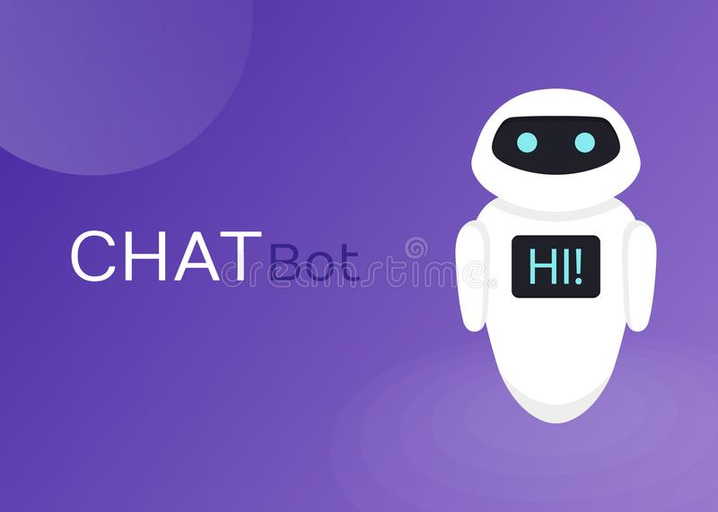 Chat Bot Robot Virtual Assistance Of Website Or Mobile Applications, Artificial Intelligence Concept Flat Vector Illustration.  royalty free illustration
