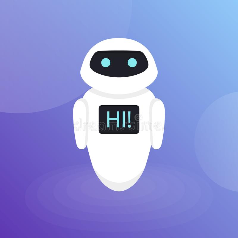 Chat Bot Robot Virtual Assistance Of Website Or Mobile Applications, Artificial Intelligence Concept Flat Vector Illustration.  vector illustration