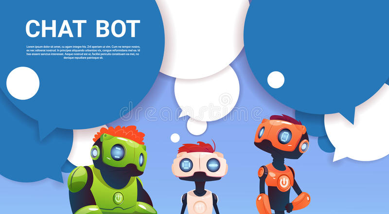 Chat Bot Robot Virtual Assistance Of Website Or Mobile Applications, Artificial Intelligence Concept. Flat Vector Illustration royalty free illustration