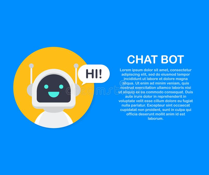 Chat Bot Robot Virtual Assistance Of Website Or Mobile Applications. Voice support service bot. Online support bot. Vector stock illustration vector illustration