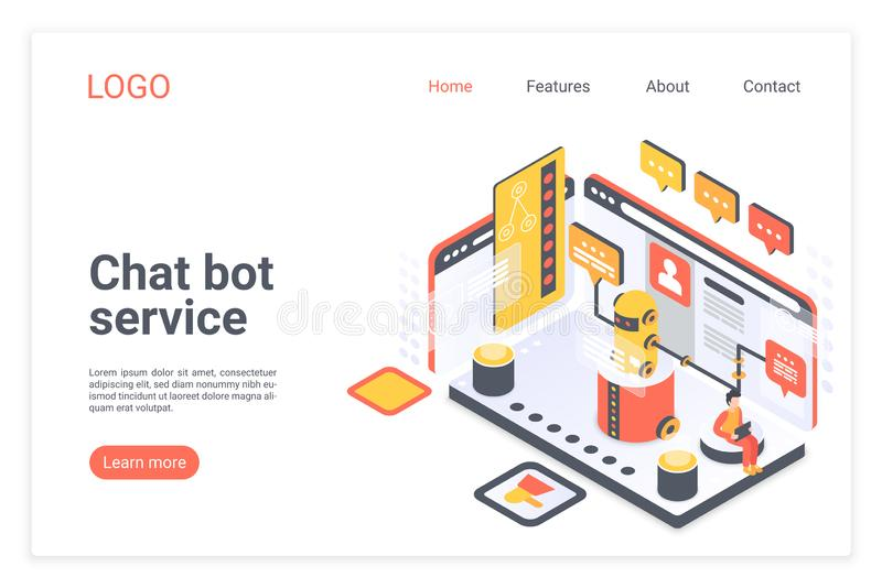 Chat bot service isometric vector landing page template. Customer support chatbot website design layout. Client virtual vector illustration