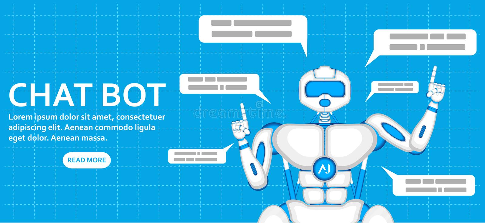 Trendy chatbot application with dialogue window royalty free illustration
