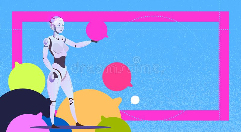 Chat bot using bubbles, robot virtual assistance of website or mobile applications, artificial intelligence messenger. Support concept flat Vector Illustration royalty free illustration