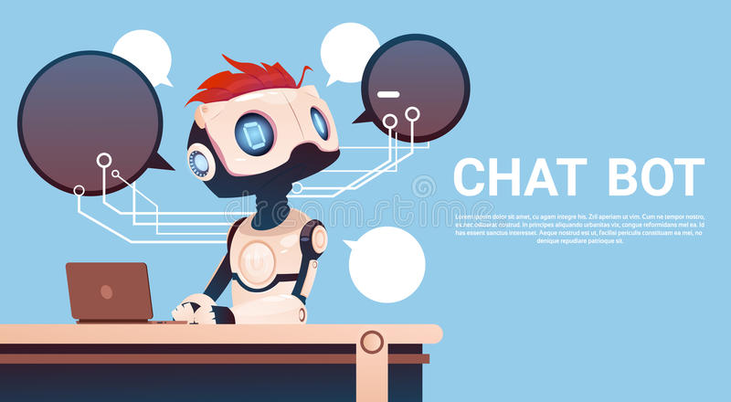 Chat Bot Using Laptop Computer, Robot Virtual Assistance Of Website Or Mobile Applications, Artificial Intelligence. Concept Flat Vector Illustration royalty free illustration