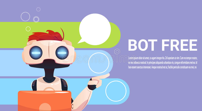 Chat Bot Using Laptop Computer, Robot Virtual Assistance Of Website Or Mobile Applications, Artificial Intelligence. Concept Flat Vector Illustration stock illustration