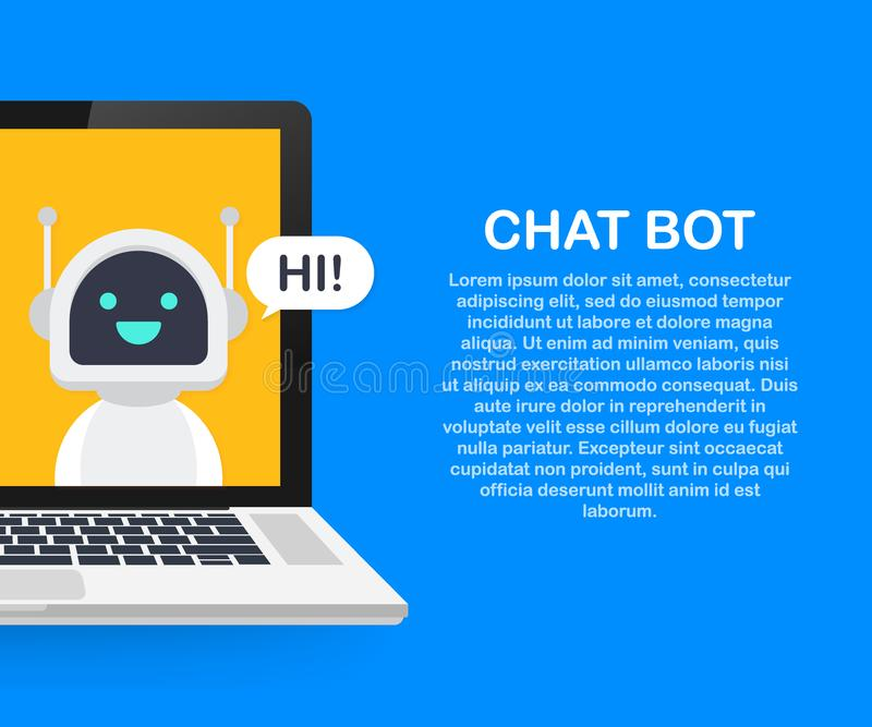 Chat Bot Using Laptop Computer, Robot Virtual Assistance Of Website Or Mobile Applications. Online support bot. Chat Bot Using Laptop Computer, Robot Virtual royalty free illustration