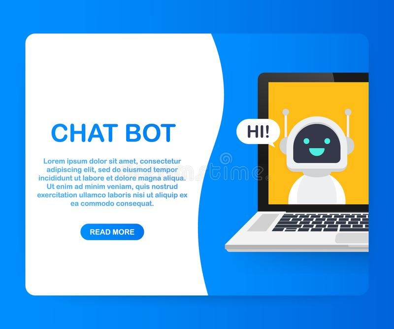 Chat Bot Using Laptop Computer, Robot Virtual Assistance Of Website Or Mobile Applications. Voice support service bot. Online support bot. Vector stock vector illustration