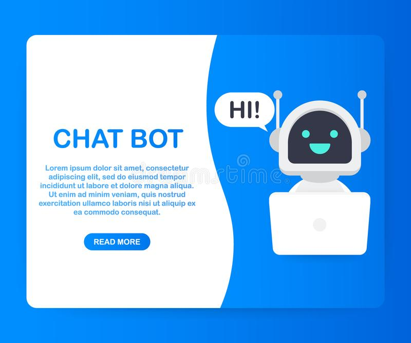 Chat Bot Using Laptop Computer, Robot Virtual Assistance Of Website Or Mobile Applications. Voice support service bot. Online support bot. Vector stock stock illustration