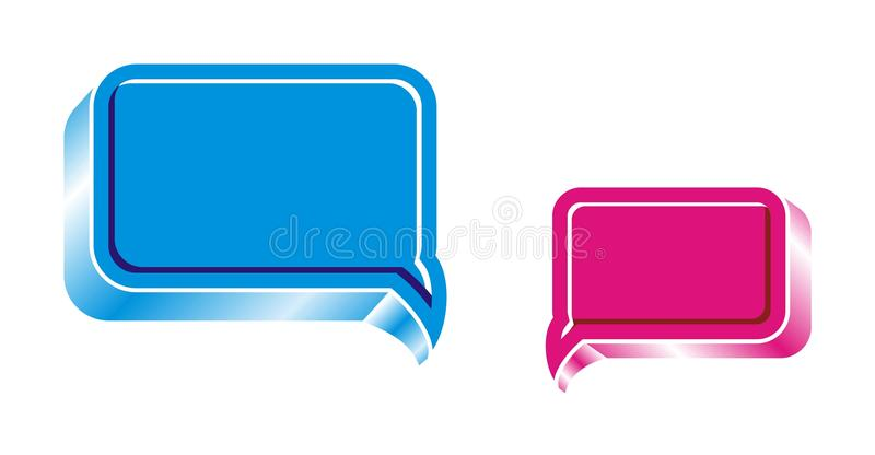 Chat box. Two vector glossy Chat box in blue and ink vector illustration