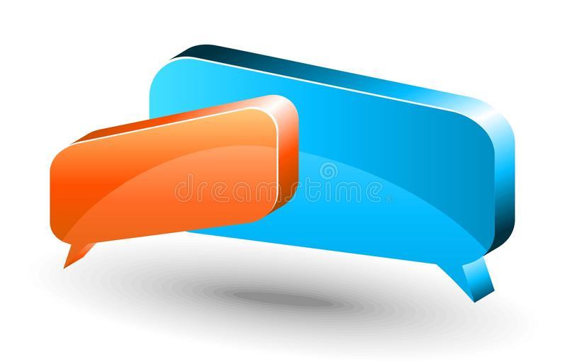 Chat box. Orange and blue. Two vector glossy chat box in orange and blue color royalty free illustration