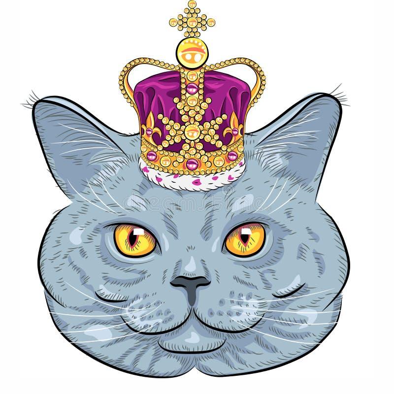 Chat britannique de vecteur dans la couronne d'or illustration libre de droits