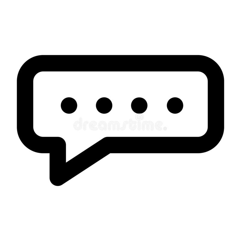 Chat bubble icon, outline style stock illustration