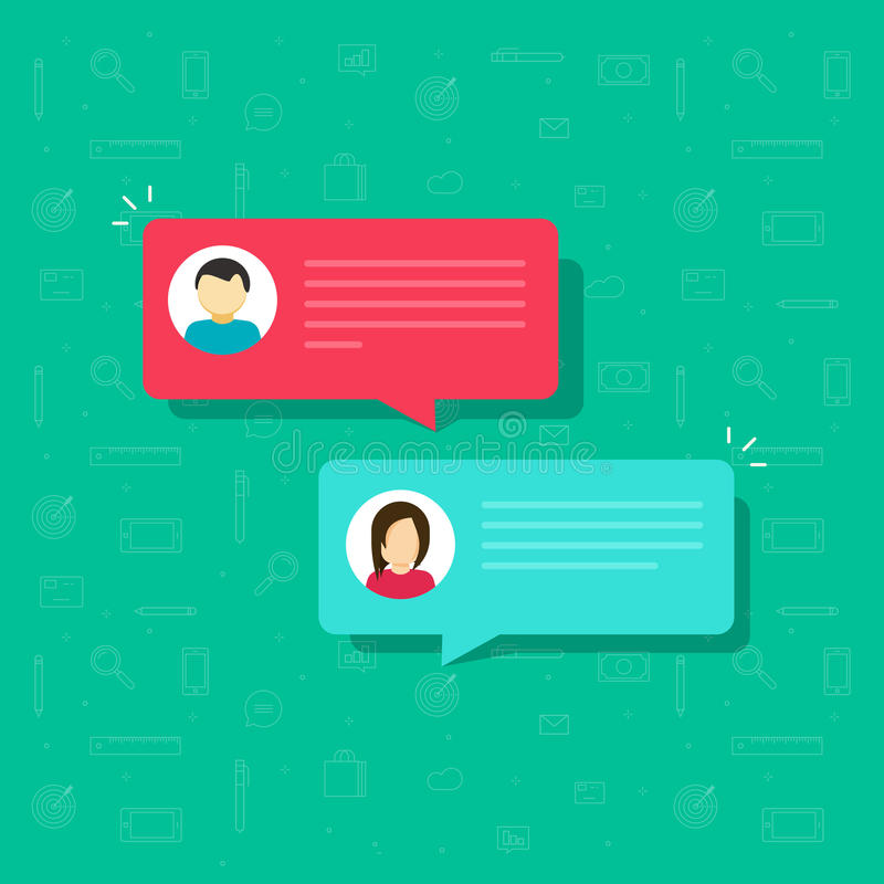 Chat bubble icon vector, flat messages bubbles with man and woman icons, idea of internet dialog, communication royalty free illustration