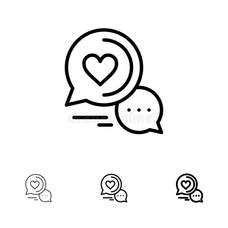 Chat Bubble, Message, Sms, Romantic Chat, Couple Chat Bold and thin black line icon set royalty free illustration