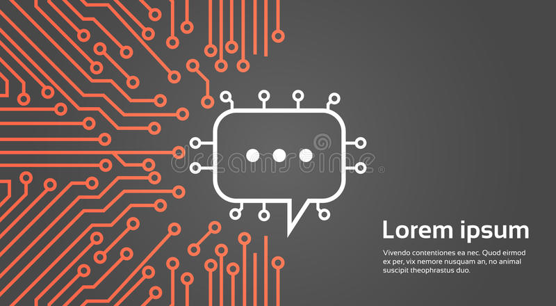 Chat Bubble Over Computer Chip Moterboard Background Social Media Network Data System Concept Banner. Vector Illustration royalty free illustration