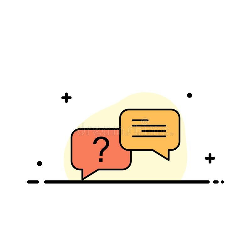 Chat, Bubble, Popup, Message  Business Flat Line Filled Icon Vector Banner Template stock illustration