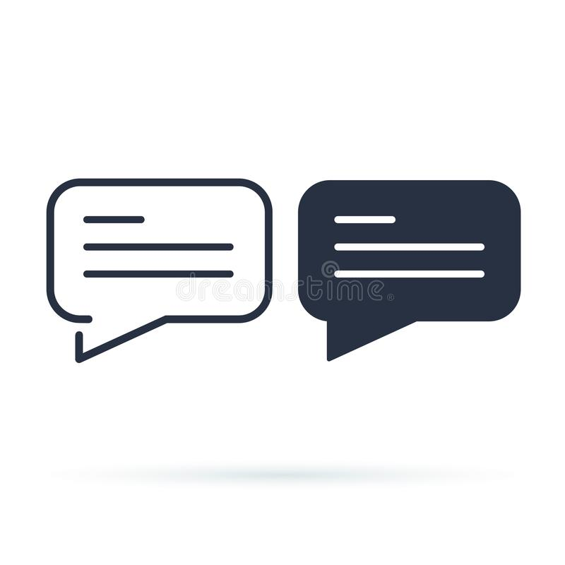 Chat bubble simple icon. Line and solid version, dialogue outline and filled vector sign. Linear and full pictogram royalty free illustration