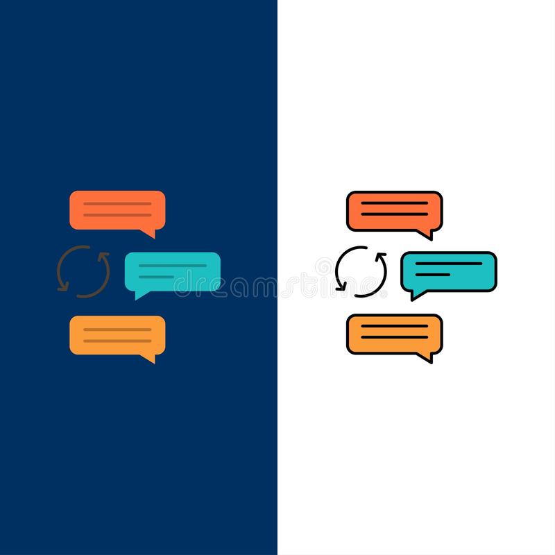 Chat, Chatting, Conversation, Dialogue, Auto, Robot  Icons. Flat and Line Filled Icon Set Vector Blue Background vector illustration