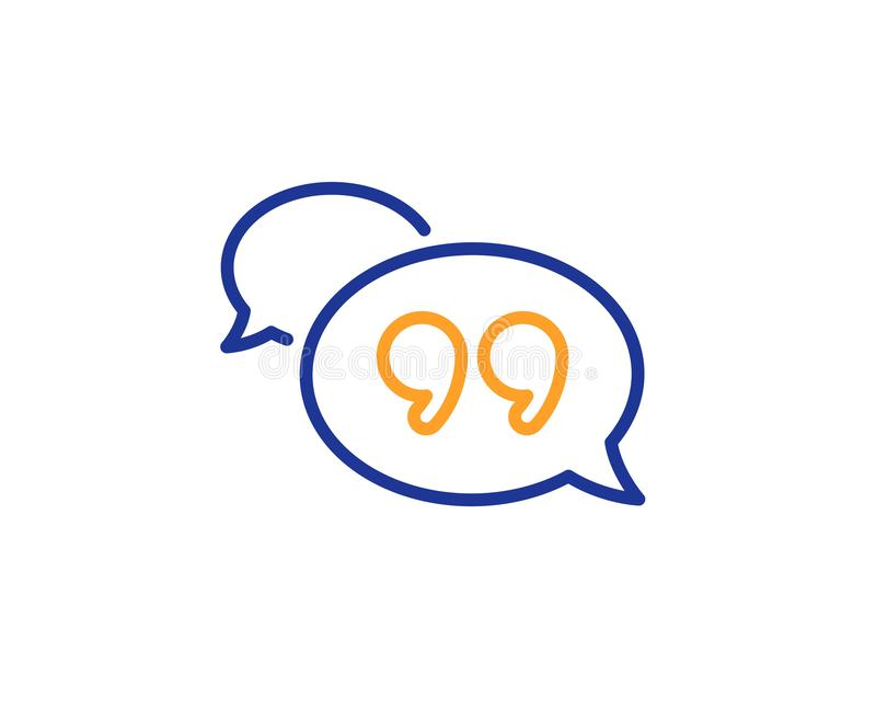 Quote bubble line icon. Chat comment sign. Speech bubble. Vector royalty free illustration