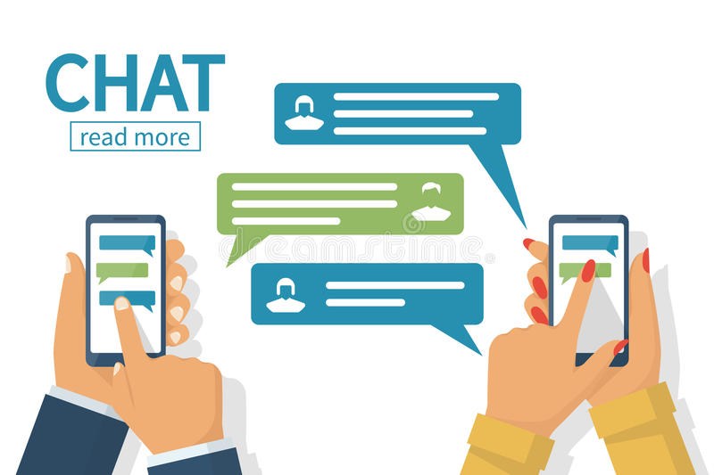 Chat concept. Texting messages in internet. Chat concept. Man and female hold in hand smartphone. People using mobile gadgets for communication. Texting vector illustration