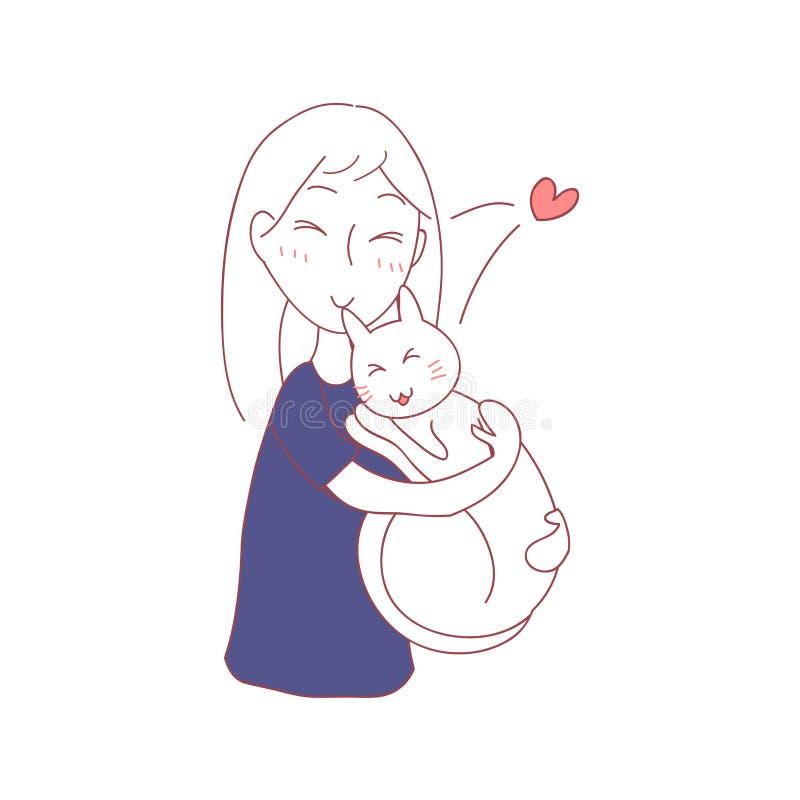 Chat d'étreinte de fille avec amour dormant ensemble Illustration de vecteur D'isolement sur le fond blanc illustration stock