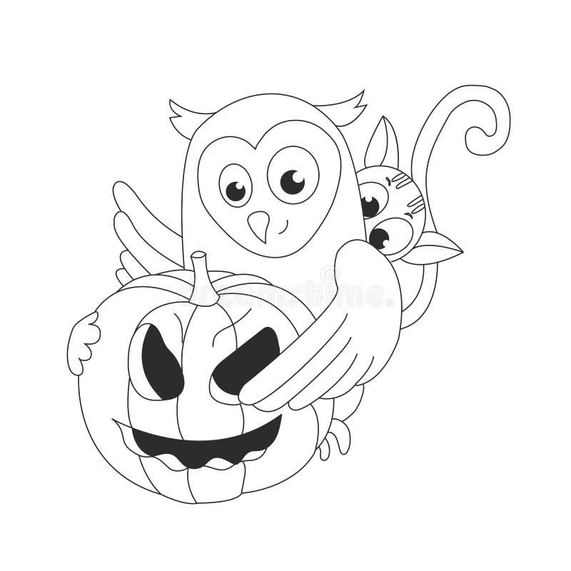 Chat d'artoon de ¡ de Ð, un hibou et un potiron Veille de la toussaint Vacances d'automne Illustration de vecteur illustration de vecteur