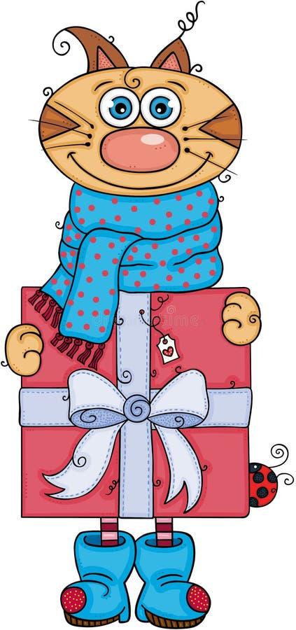 Chat d'hiver tenant un grand cadeau rouge illustration libre de droits