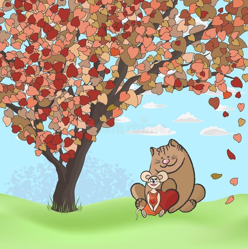Chat dans l'amour avec la souris illustration libre de droits