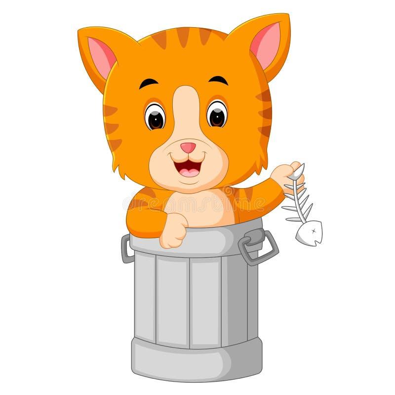 Chat dans la bande dessinée de déchets illustration stock
