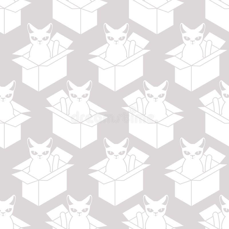 Chat dans la texture de blanc de boîte Animal familier à l'arrière-plan de boîte en carton Vecto illustration libre de droits
