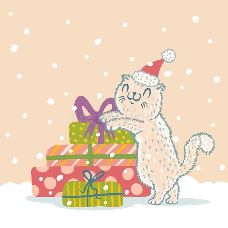 Chat dans le chapeau de Noël illustration de vecteur