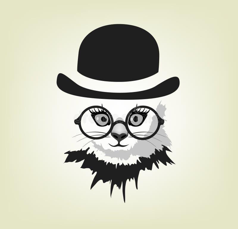 Chat dans le chapeau et les verres illustration stock