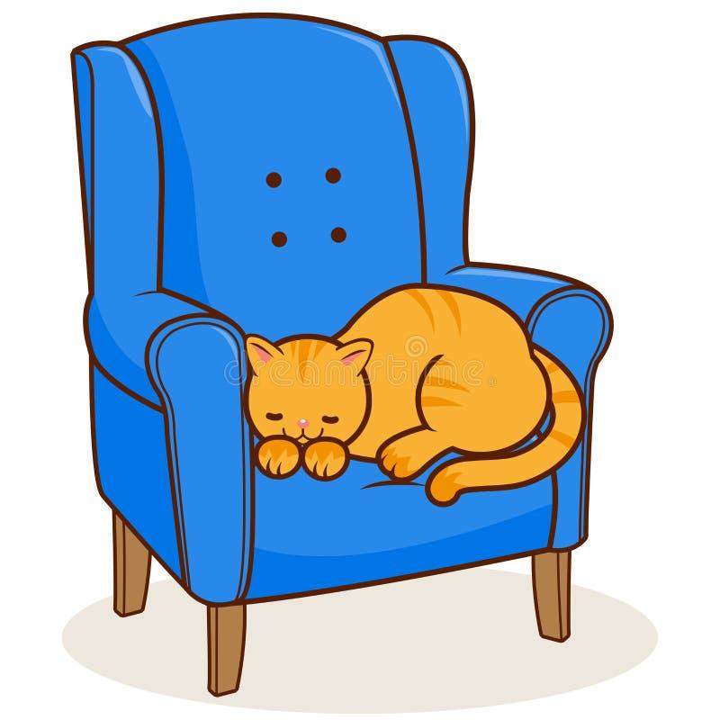 Chat dans le fauteuil illustration libre de droits