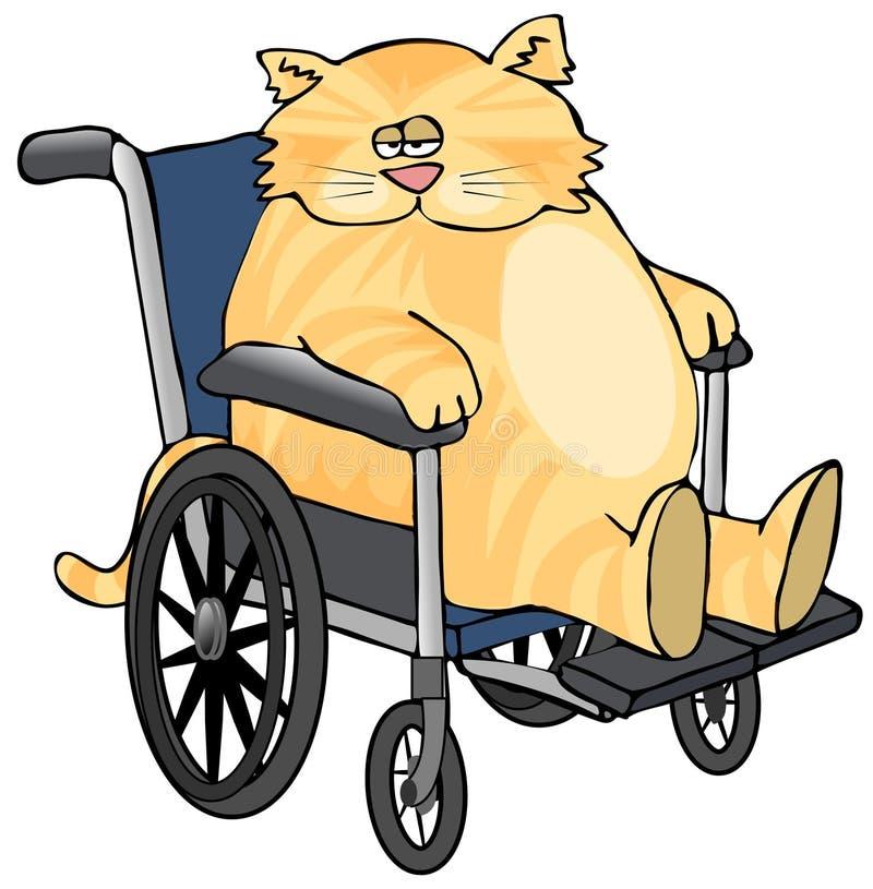 Chat dans un fauteuil roulant illustration libre de droits