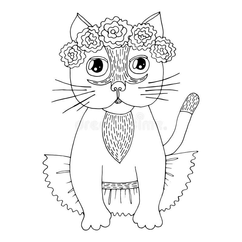 Chat de bande dessinée avec la fleur sur la tête pour livre de coloriage ou des pages illustration libre de droits