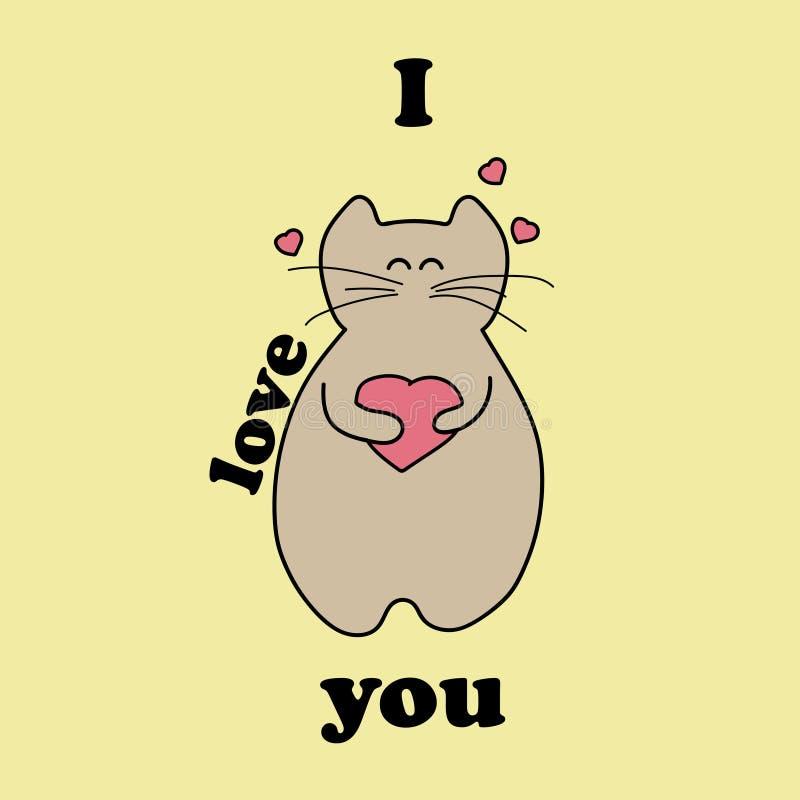 Chat de bande dessinée tenant un coeur Le chat se tient sur un fond jaune photographie stock