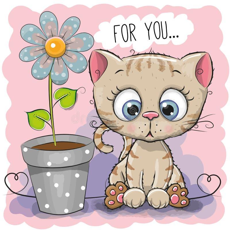 Chat de carte de voeux avec la fleur illustration libre de droits
