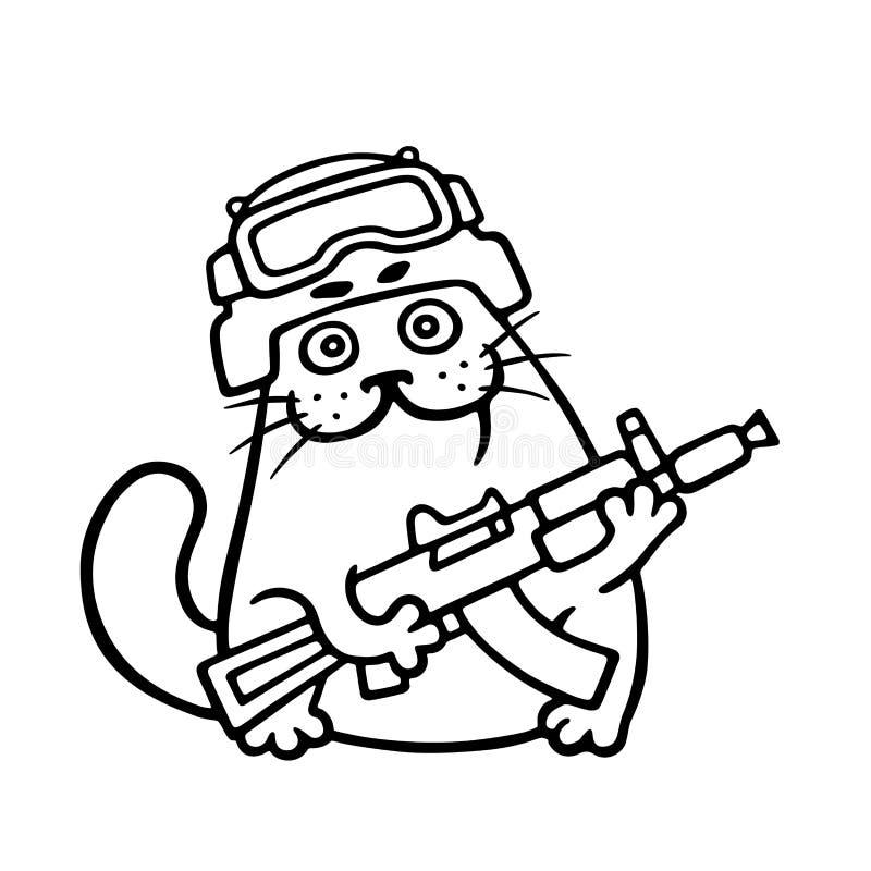 Chat de combat dans le casque et avec l'arme à feu Illustration de vecteur illustration libre de droits