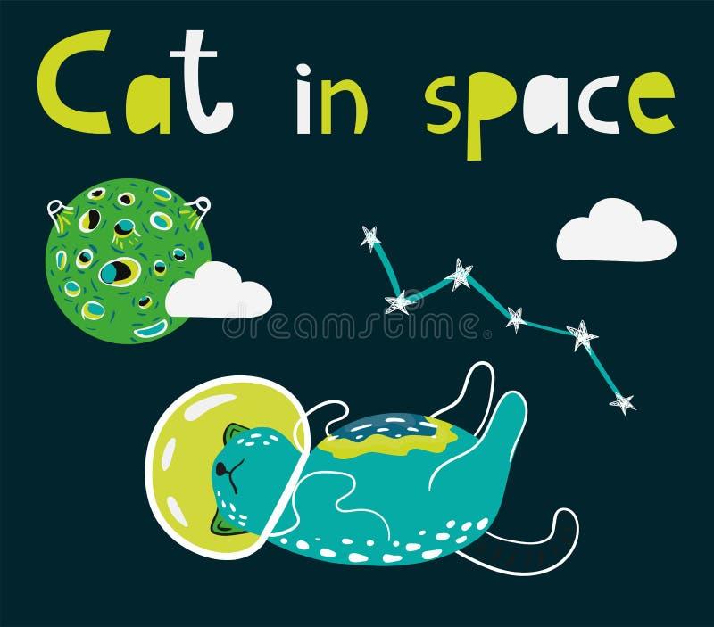 Chat de l'espace illustration stock