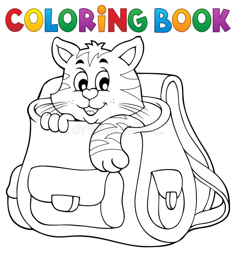 Chat de livre de coloriage dans le cartable illustration de vecteur illustration du poche - Cartable dessin ...