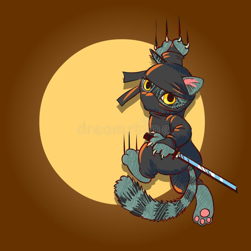 Chat de Ninja illustration stock