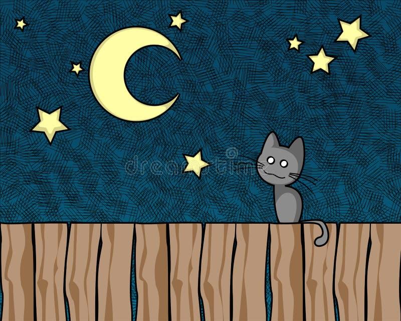 Chat de nuit illustration libre de droits