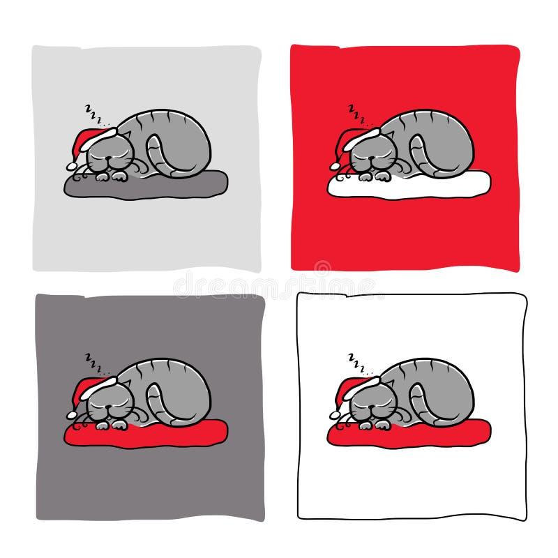 Chat de Santa dormant, croquis pour votre conception illustration de vecteur
