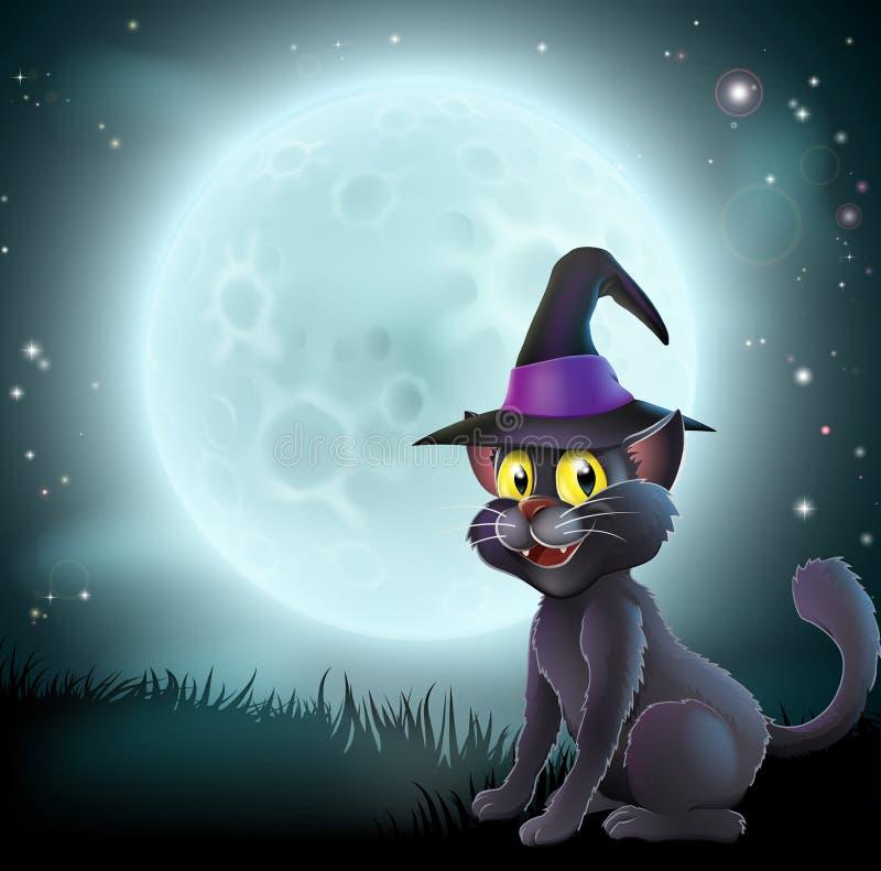 Chat de sorcière de pleine lune de Halloween illustration libre de droits