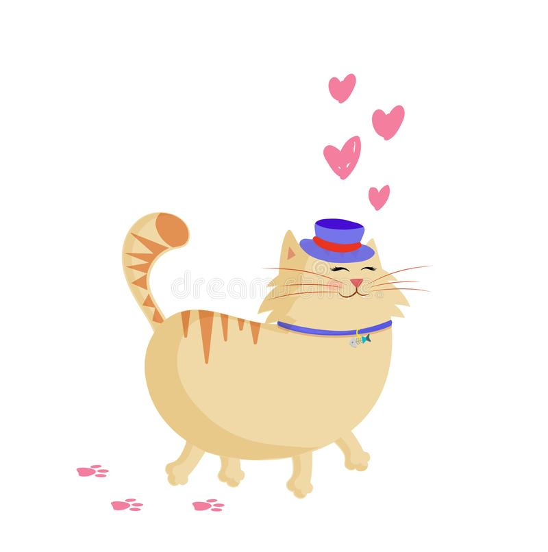 Chat de sourire de gingembre de bande dessinée mignonne dans le chapeau supérieur marchant avec des coeurs autour illustration de vecteur