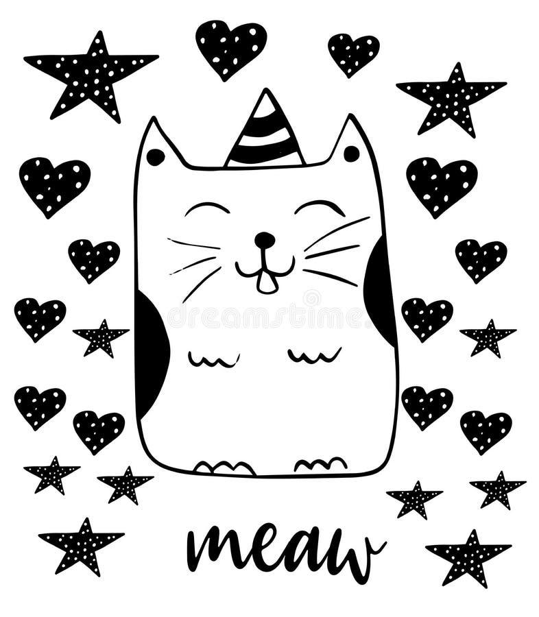 Chat de sourire mignon Illustration de Kitty Vector Style tir? par la main de griffonnage illustration libre de droits