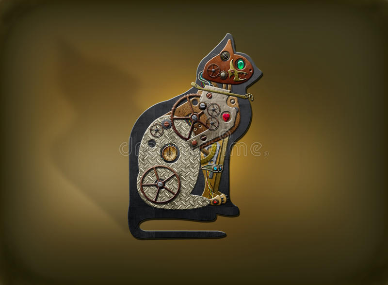 Chat de Steampunk illustration stock
