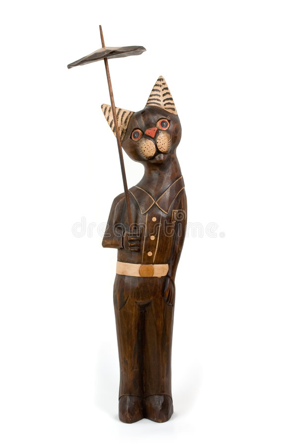 Chat de Wood-carving photographie stock