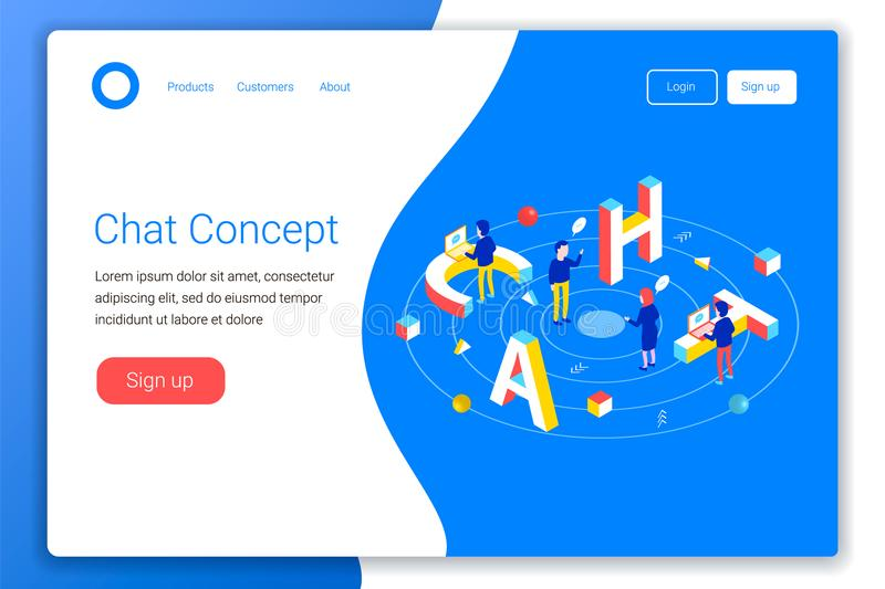 Chat design concept. Chat 3d word lettering typography with isometric people and laptops. Flat 3d isometric style. Landing page template. Vector illustration vector illustration