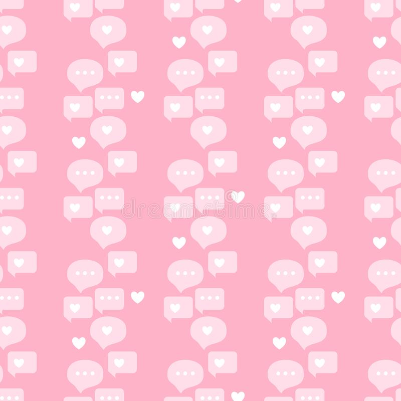 Chat dialog speech clouds Seamless pattern. Vector illustration Abstract comments and message talk blog page on pink background. vector illustration